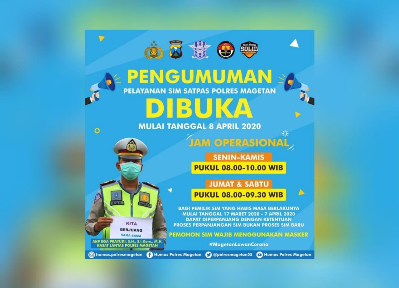 Pelayanan SIM Satpas Polres Magetan Kembali Dibuka, Pemohon Wajib Pakai Masker