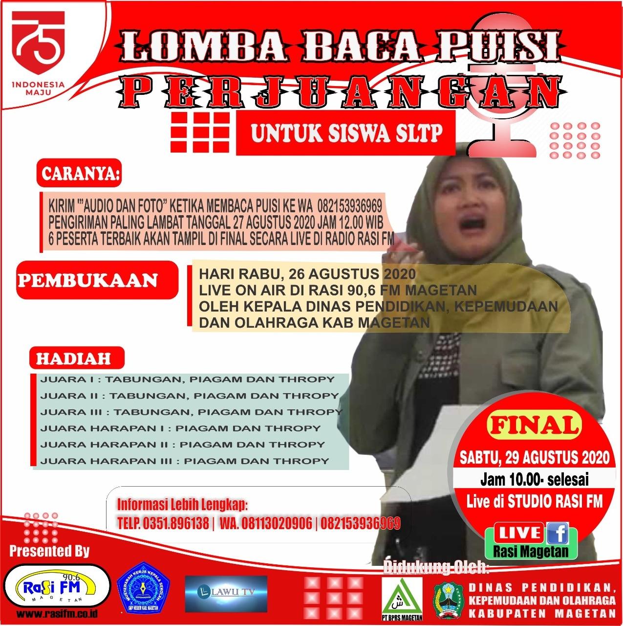 Kepala Dinas Pendidikan Magetan Buka Secara Virtual Lomba Puisi Perjuangan Yang Diselenggarakan Oleh Radio Rasi FM.